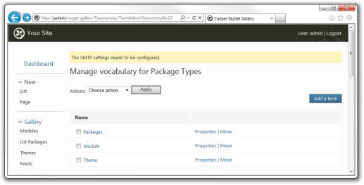 Configuring the package taxonomy